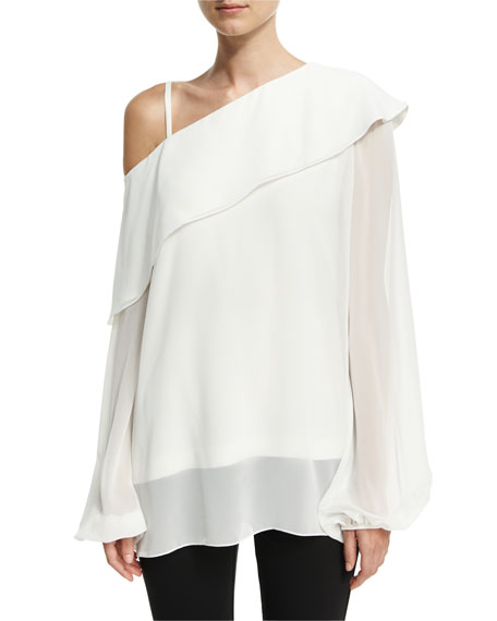 Derek Lam One-Shoulder Ruffled Chiffon Blouse