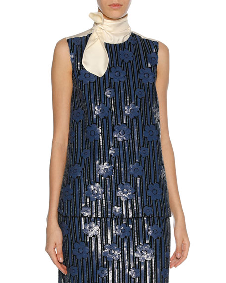 Marni Sequined Flowerbed Tie-Neck Top, Blue
