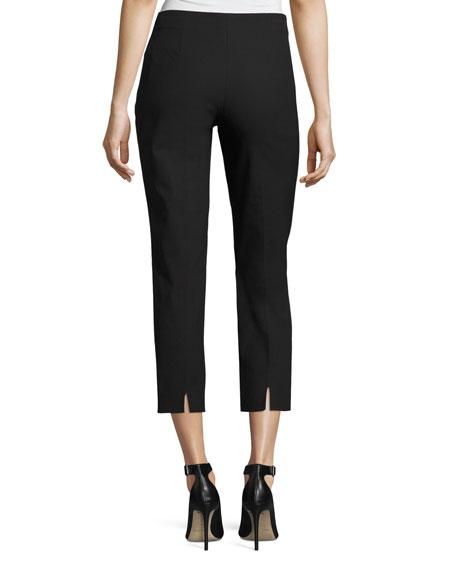 Audrey Stretch-Cotton Cropped Pants, Black