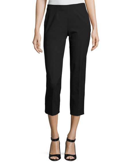 Piazza Sempione Audrey Stretch-Cotton Cropped Pants, Black