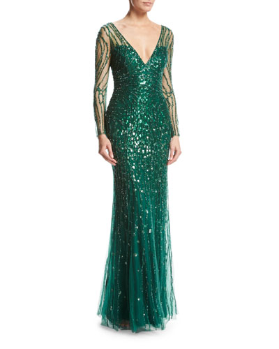 Long-Sleeve V-Neck Beaded Tulle Gown, Dark Forest