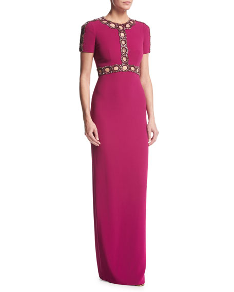Jenny Packham Short-Sleeve Beaded Cutout Gown, Bright Plum