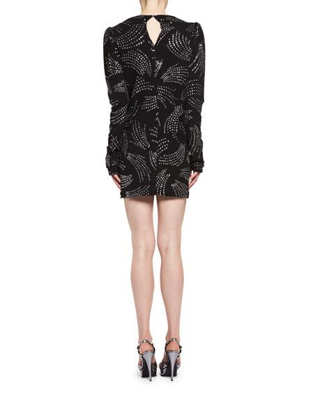 Rhinestone Shirred-Waist Long-Sleeve Dress