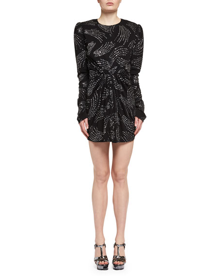 Saint Laurent Rhinestone Shirred-Waist Long-Sleeve Dress, Black