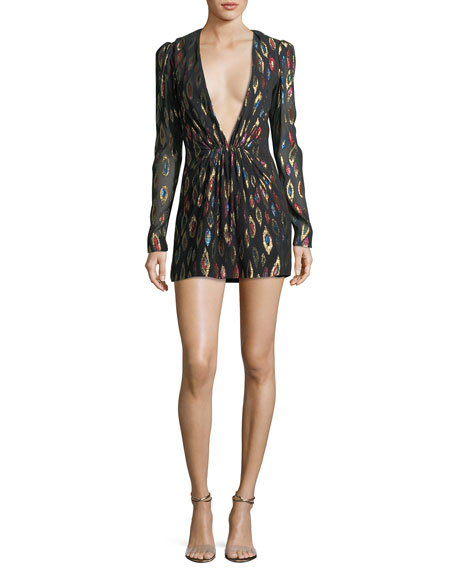 Peacock Fil Coupe Cocktail Dress