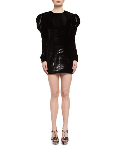 Ruched Velvet Puff-Sleeve Shift Dress, Black (Noir)