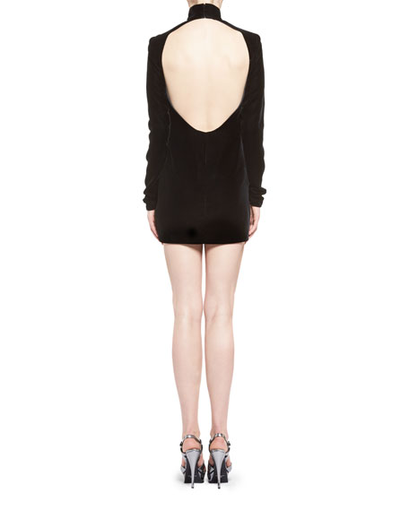 Velvet Turtleneck Minidress with Open Back