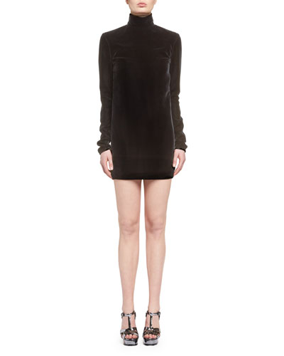 Velvet Turtleneck Minidress with Open Back, Black