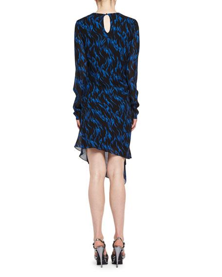 Flame-Print Draped Long-Sleeve Dress, Black/Blue