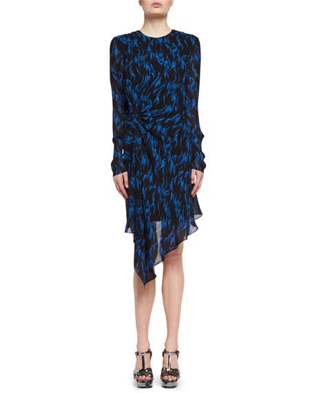 Saint Laurent Flame-Print Draped Long-Sleeve Dress, Black/Blue