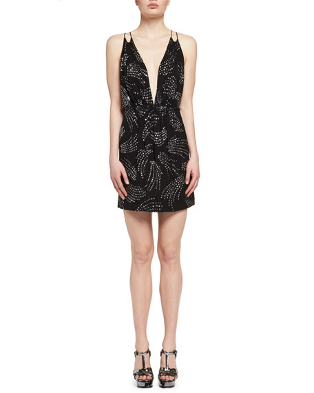 Sleeveless Rhinestone Crepe Minidress, Black