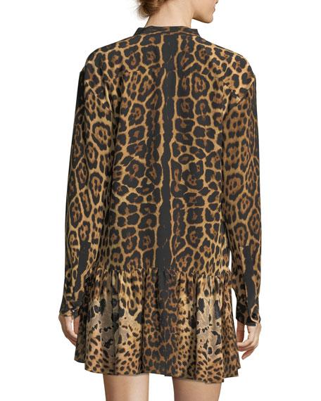 Leopard Silk Babydoll Dress with Necktie