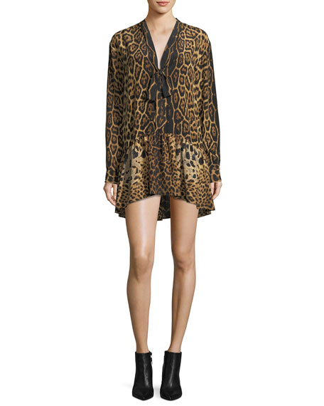 Leopard Silk Babydoll Dress With Necktie by Saint Laurent