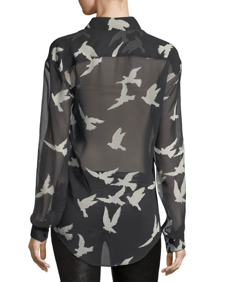 Bird-Print Sheer Silk Shirt
