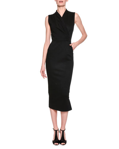 Faux-Wrap Midi Sheath Dress, Black