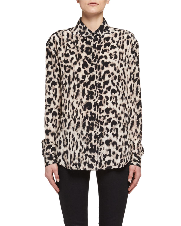 Saint Laurent Classic Leopard Print Silk Shirt Neiman Marcus