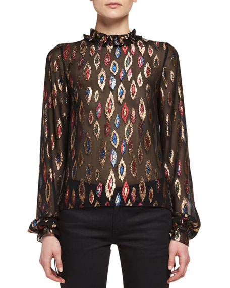 Embroidered Peacock Ruffle-Collar Blouse