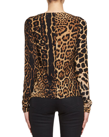 Leopard-Print Silk Plunging Top