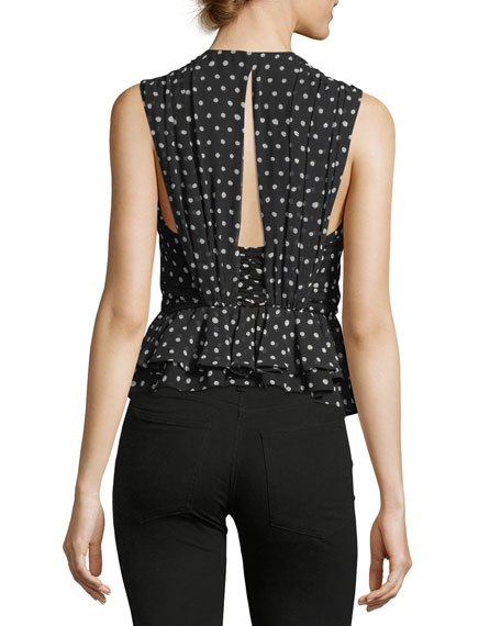 Polka-Dot Ruffled Silk Peplum Top