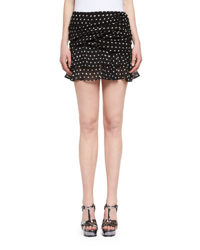 Ruffled Polka Dot Miniskirt, Black/White