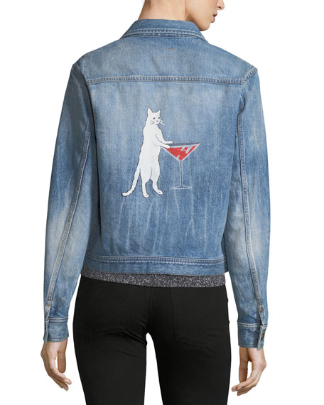 Denim Jacket with Cat Print