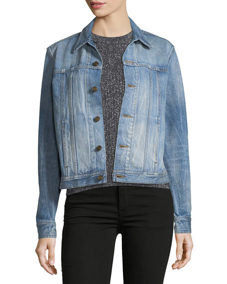 Denim Jacket with Cat Print