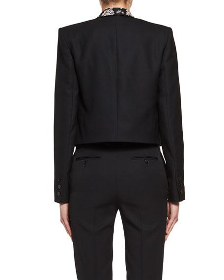 Spencer Rhinestone-Embroidered Cropped Jacket, Black