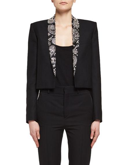 Saint Laurent Spencer Rhinestone-Embroidered Cropped Jacket, Black