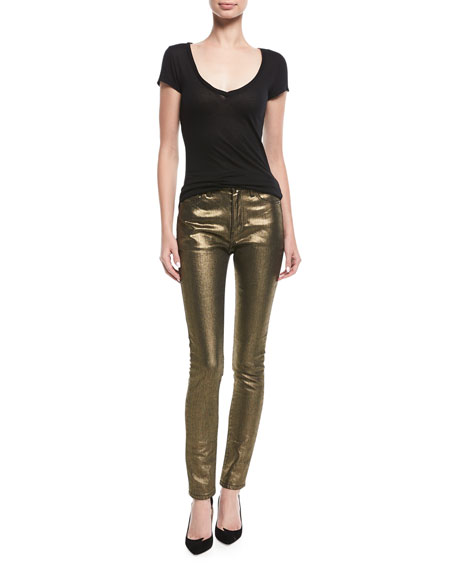 High-Rise Skinny Metallic Jeans