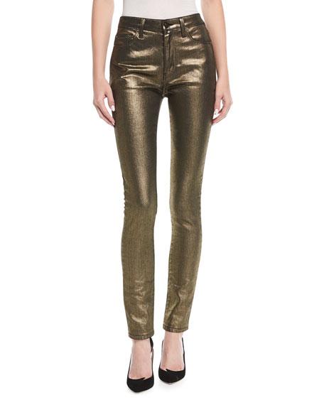 High-Rise Skinny Metallic Jeans
