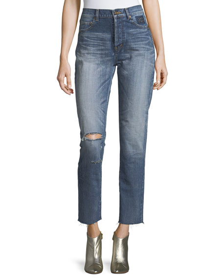 Saint Laurent Distressed High-Waist Straight-Leg Jeans