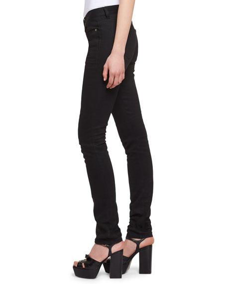 Heart-Stud Low-Rise Skinny Jeans, Black