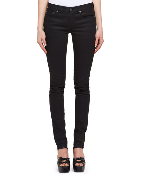 Heart-Stud Low-Rise Skinny Jeans, Black