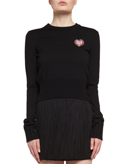 Beaded Heart Cropped Wool Sweater, Noir/Crystal/Rose