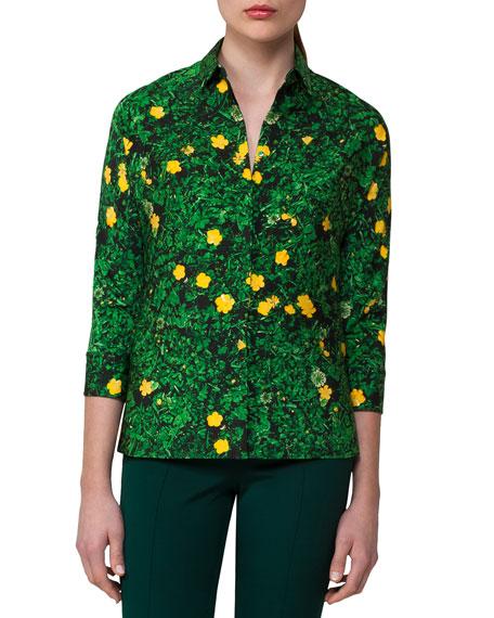 Buttercup Floral-Print Silk Shirt