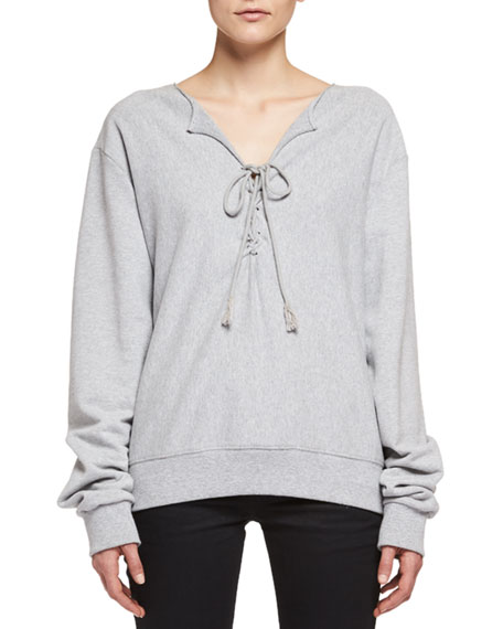 Lace-Up Sweatshirt, Gris Chine