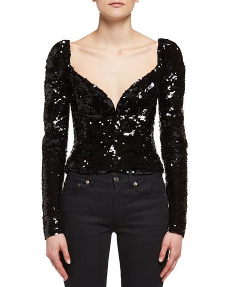 Saint Laurent Heart-Stud Low-Rise Skinny Jeans, Black and