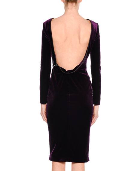 Velvet Drape-Back Dress with Zipper Trim