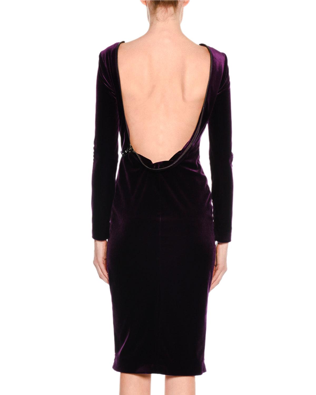 3a07bf0d6c89d TOM FORD Velvet Drape-Back Dress with Zipper Trim | Neiman Marcus