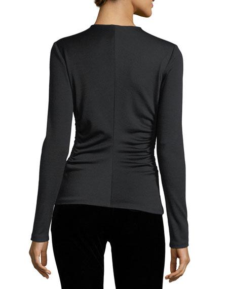 Shirred-Side V-Neck Top