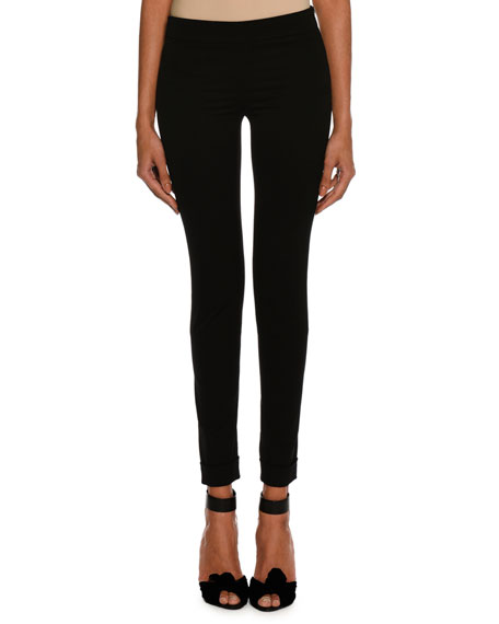 Wool Gabardine Stretch Ankle-Zip Leggings, Black