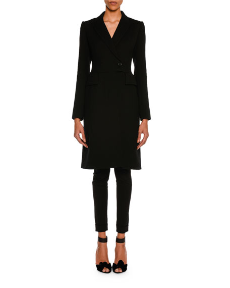 TOM FORD Wool Gabardine Stretch Ankle-Zip Leggings, Black