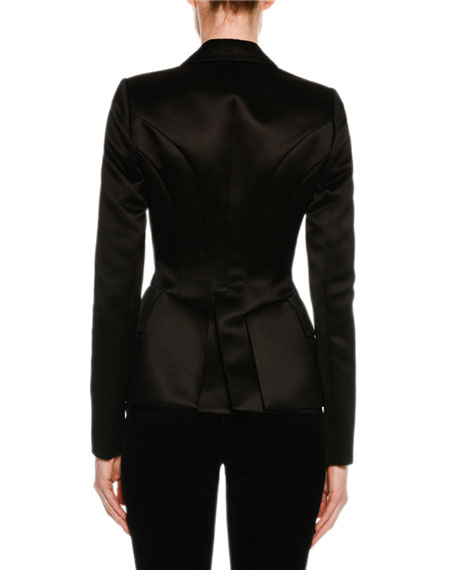 Fitted Silk Tuxedo Jacket, Black