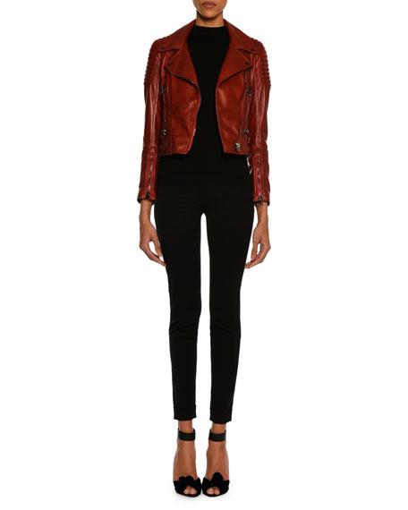 Lamb Leather Moto Jacket, Scarlet