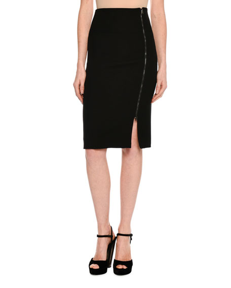 Side-Zip Fitted Pencil Skirt
