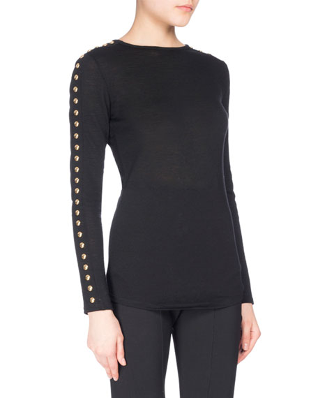 Balmain Button-Sleeve Jersey Top, Black