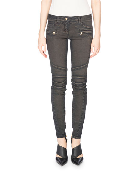 Balmain Low-Rise Biker Jeans, Gray and Matching Items