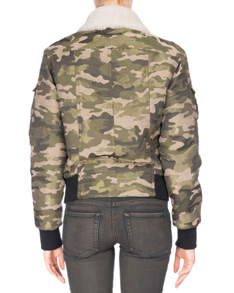 Camouflage Shearling-Lined Aviator Jacket, Green