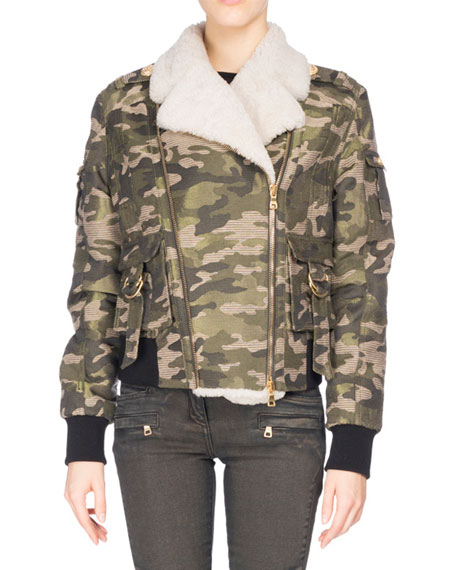 Balmain Camouflage Shearling-Lined Aviator Jacket, Green