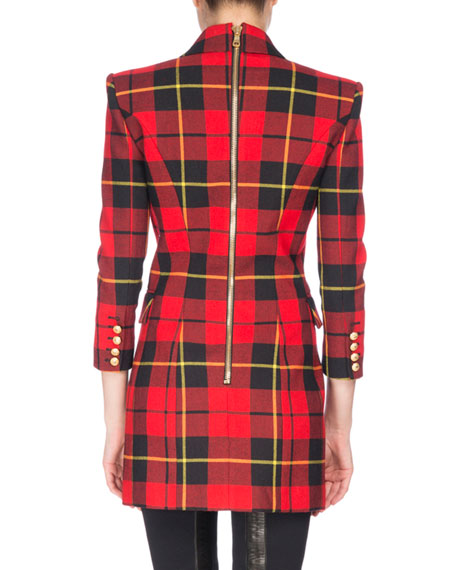Tartan Double-Breasted Minidress, Red/Black
